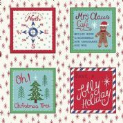 Lewis & Irene North Pole - 5493 - Christmas Label Squares on White - C11.1 - Cotton Fabric